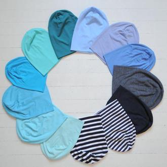 Демисезонные шапки бини (шапка чулок) синих оттенков