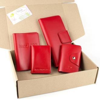 Подарочный набор №11(красный): обложка на паспорт, документы + картхолдер + кошелек