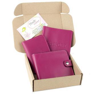 Набор №5 (малиновый): обложка на паспорт, документы, картхолдер, портмоне