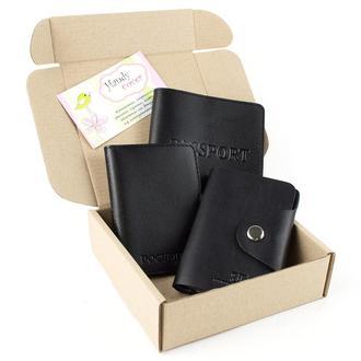 Набор №2 (черный): обложка на паспорт, обложка на документы, картхолдер