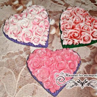 """Мыло сувенирное""""Сердце в розах"""""""