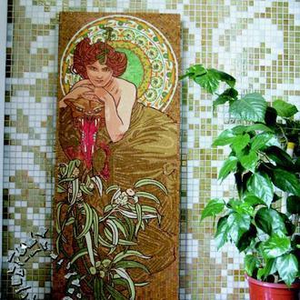 Эксклюзив. Картина из мозаики. Изумруд. Альфонс Мария Муха.
