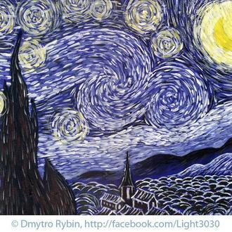 Звездная ночь по мотивам Ван Гога. Энергетическая живопись