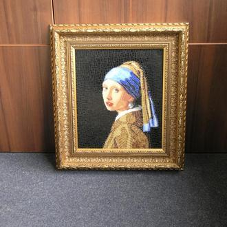 Девушка с жемчужной сережкой. Вермеер. Картина из мозаики.