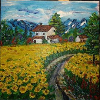 """картина на холсте """"Родной дом, цветущие подсолнухи"""""""