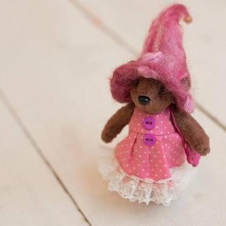 Мишка в розовой шляпе 10.5 см