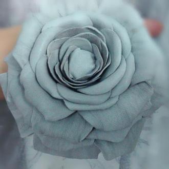 Кожаная брошь – заколка, роза кожаная