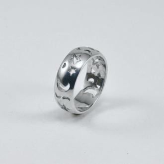 Кольцо со сквозным узором звезда-месяц