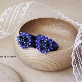 Синие большие резиночки для волос, пара резинок