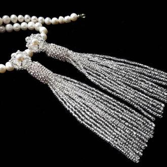 Сережки з китицями, серьги-кисти в стиле Оскара де ла Рента, длинные серьги кисточки