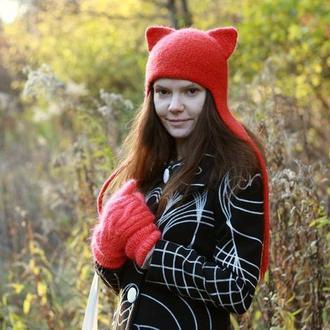 Зимняя шапка Кошка