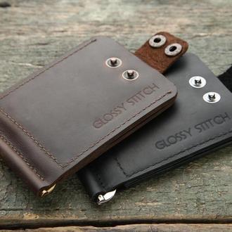 Зажим для денег кожаный Money clip wallet