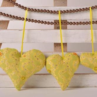 Декор для дома ручной работы мягкие сердца 3 шт декоративные сердца желтые