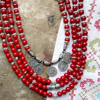 Бусы ожерелье красное стекло монисто национальный стиль красные бусы