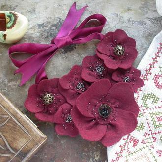 Намисто з фетру маки намисто з фетру квіти з фетру червоне ожерельбе