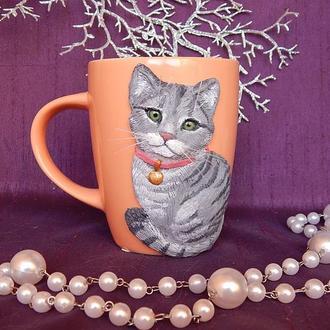 """Чашка"""" Кошечка"""".Портрет вашего питомца по фото.Чашка.кружка с декором полимерной глиной."""
