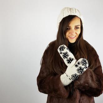 Теплые модные варежки дизайнерская работа альпака