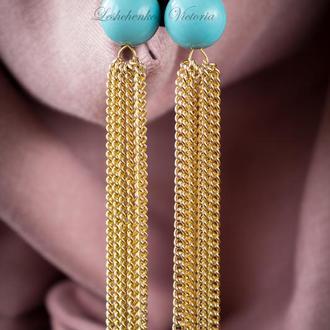 Золотые серьги кисти из цепочек с бирюзовыми бусинами, голубые золотые серьги кисти