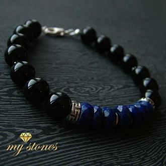 """Мужской браслет из афганского лазурита, агата и серебра """"Nile"""""""