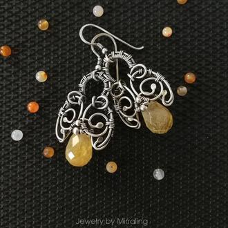 Серебряные серьги с желтым кварцем в стиле бохо шик / Wire wrap украшение
