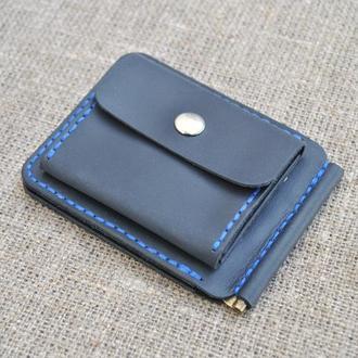 Кожаный зажим для денег темно-синего цвета  Z06-600+blue