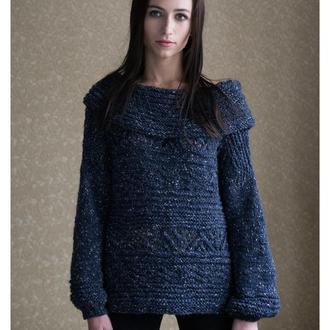 Мохеровый свитер с оригинальными скандинавскими мотивами