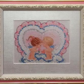 "Картина стразами ""Ангелочки целуются"""