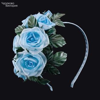 Ободок з трояндами з тканини