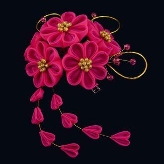 Заколки с цветами канзаши