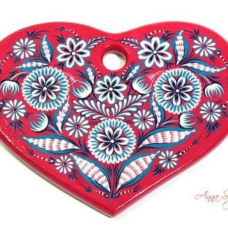 """Деревянная доска """"Сердце"""" с авторской ручной росписью."""
