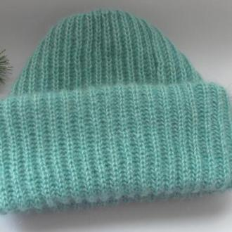 Мохеровая шапка Стиль Такори, Вязаная шапка, шапочка, мягкая, пушистая