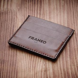 візитниця |кардхолдер | Franko small brown cardholder | FRANKO