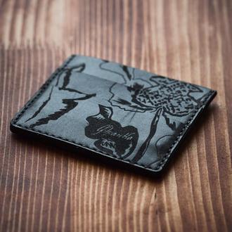 кардхолдер квіти козацькі | Kozak flowers small black cardholder | FRANKO