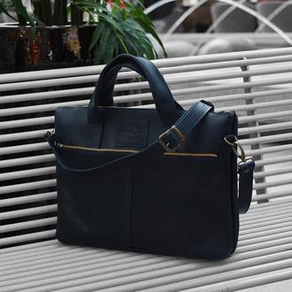 Синяя кожаная сумка для ноутбука 13 - 15 дюймов
