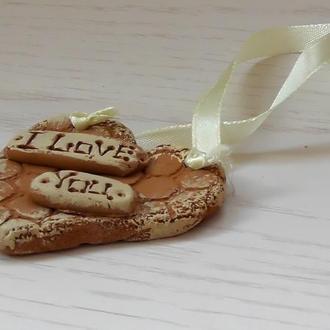 """Подвеска """"I love you"""" светлая"""