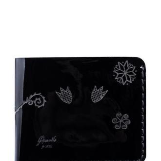 портмоне Трипілля чорний лак | Tripillya small black wallet