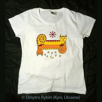 Эксклюзивная футболка. Кошка и кот. Инь ян. Солнце и луна. Влюбленные. День святого Валентина