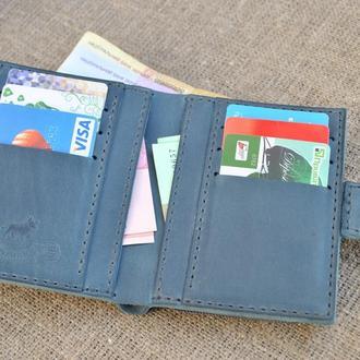 Синий кошелек из натуральной кожи K63-660+dark grey