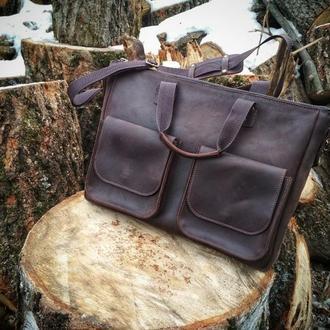 Шкіряна сумка для ноутбука, кожаная сумка для ноутбука,