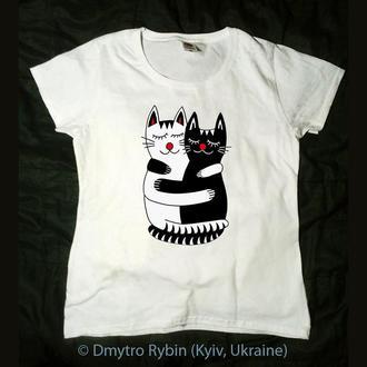 Эксклюзивная футболка. Черная кошка белый кот. Инь ян. Влюбленные. День Святого Валентина