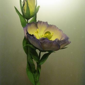 Эустома из фоамирана, цветок с бутоном