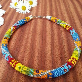 Яркое разноцветное летнее пэчворк ожерелье жгут из чешского бисера