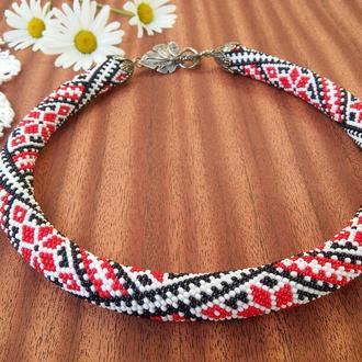 Украинская вышиванка ожерелье жгут из бисера с традиционным узором
