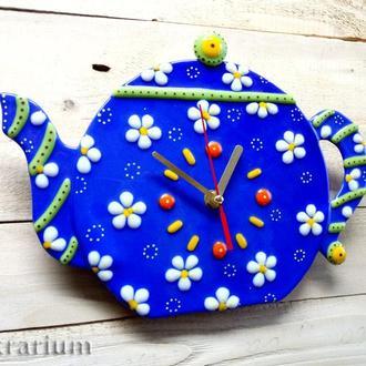 """Часы из стекла """"Ромашковый чай"""""""
