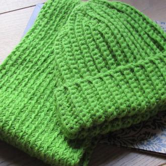 Комплект снуд и шапка бини крупной вязки