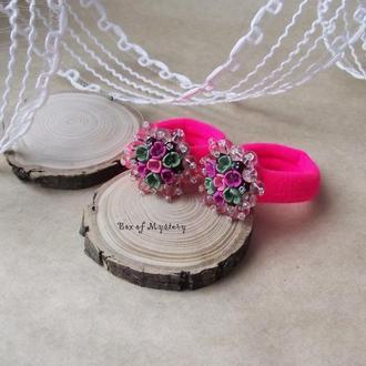 Резинки для волос с цветами, ярко розовые резинки, цветочное украшение, подарок девочке