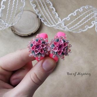 Розовые резинки для волос, резинки с цветами, подарок девочке, пара резинок