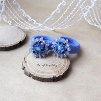 Резиночки для волос с цветами ручной работы, пара резинок, синие резинки, подарок девочке