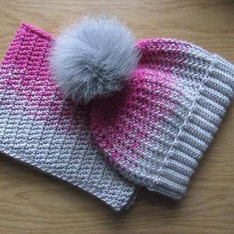Комплект вязаный снуд и шапка для девочки
