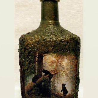 """Декор бутылки """"Утро в сосновом лесу"""""""